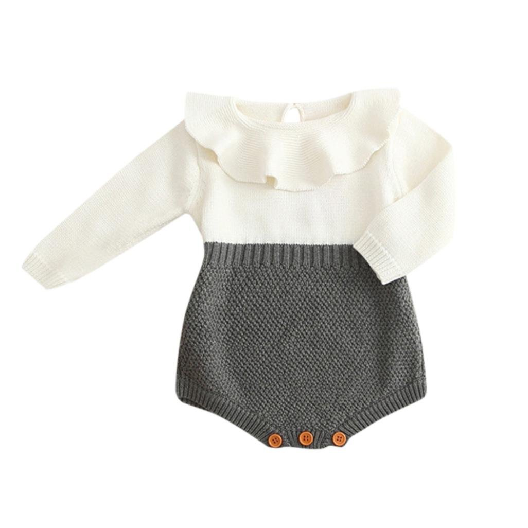 Kids Girls Baby Knitted Sweater , Morwind Winter Princess Lotus Collar Romper Jumpsuit Clothes