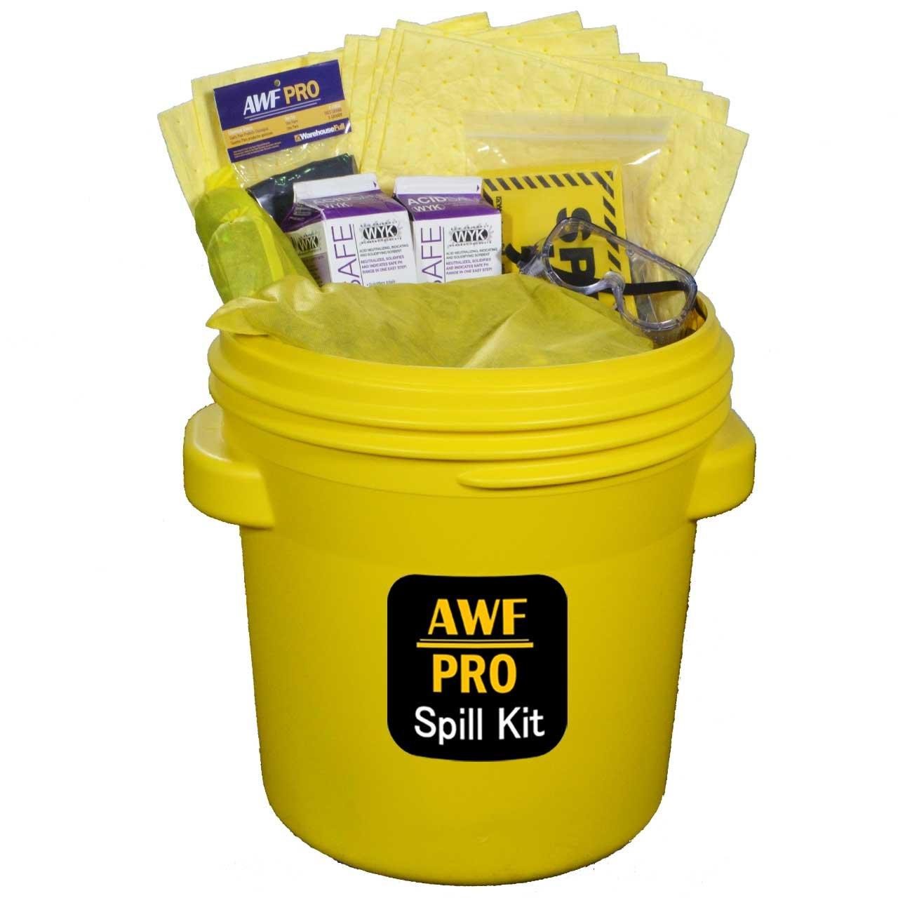 "20 Gallon Battery Acid Spill Kit DOT Overpack Drum, 4 lb Acid Neutralizer, 40 Pads 15""x19"", 3 Socks 3""x4', 3 Pillows 18""x18"", Chemical Gloves, 3 Hazmat Bags, Safety Goggles, Spill Kit Sign"