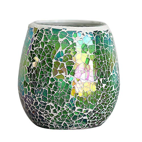 LH Mosaic Glass Votive Candle Holder,Handmade Multicolored Decorative Tealight Candle Holders - Perfect for Birthday Weddings Parties and Home Decor(Green)