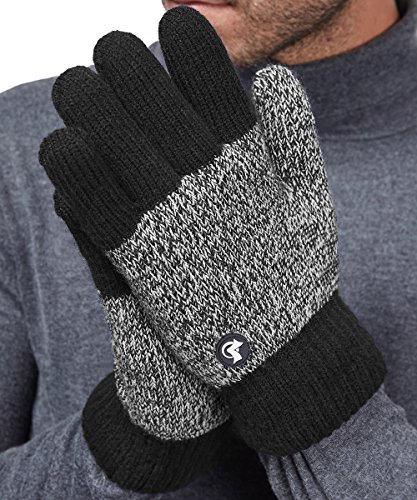 LETHMIK Thick Fleece Winter Gloves Mens Mix Knit for Cold Weather Black (Winter Gloves Cold)