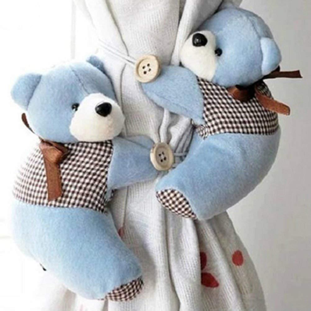 de Gluckliy para dormitorio infantil 2 unidades azul Oso de peluche para colgar de cortinas o ventanas bonito con hebilla felpa