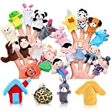Pllieay 24 Pieces Finger Puppets Set Cloth Plush Doll Baby Educational Hand Cartoon Animal Toys 15 Animals, 6 People Family Members, 2 Pieces House 1 Piece Carrot