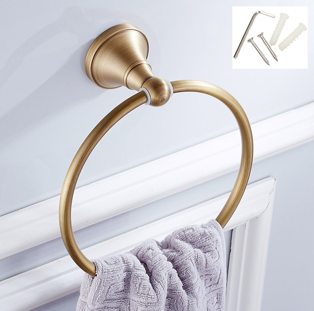 ROSE CREATE Retro Gold Solid Brass Towel Ring Holder, Wall Mounted Towel Rack Bar Hanger, Bathroom Kitchen Rustproof Antique Brass Finished Towel Rail - Antique Brass