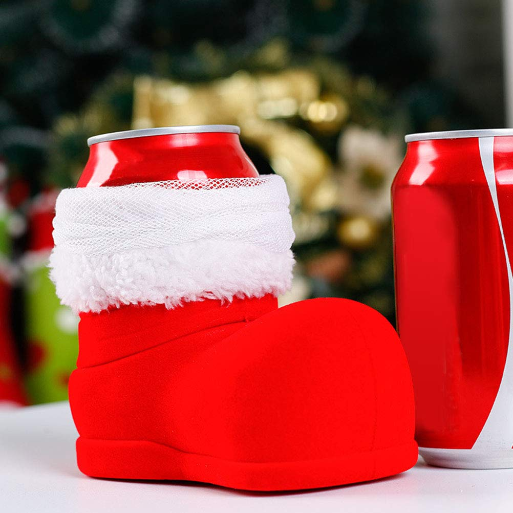BESTOYARD Vino Cola Botella Botas Navidad Papá Noel Dulces Bolsas de Regalo Decoraciones para árboles de Navidad (Rojo y Blanco): Amazon.es: Hogar