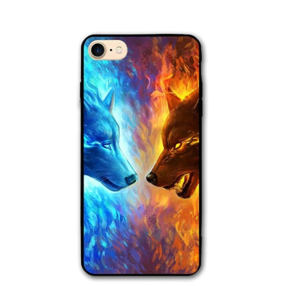 hot sale online 07bf6 10b3e Amazon.com: Apple iPhone 8 Case, Apple iPhone 7 Case,Wolf Fire ...