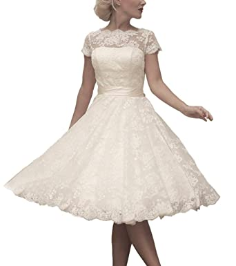 HUINI Short Sleeves Lace Wedding Dresses Cowl Neck Bowknot Sash Bridal Gowns UK6