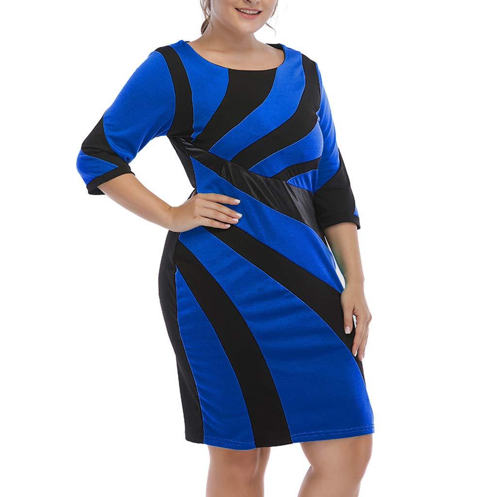 Jianekolaa_Dress Women's Plus Size Mini Dresses Half Sleeve Knee Length Party Club Dress Bodycon Blue
