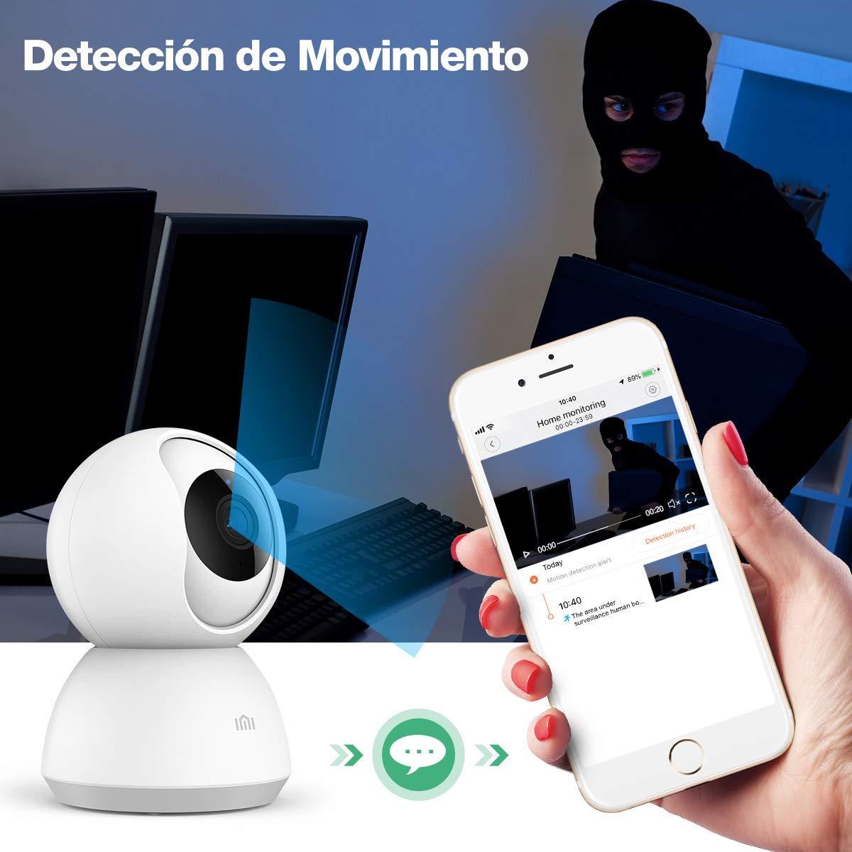 Nuevo IMI C/ámara de Vigilancia WiFi 1080P C/ámara IP Inal/ámbrica Audio Bidireccional Visi/ón Nocturna Detecci/ón de Movimiento Mascota//Beb/é Monitor para iOS//Android IMI
