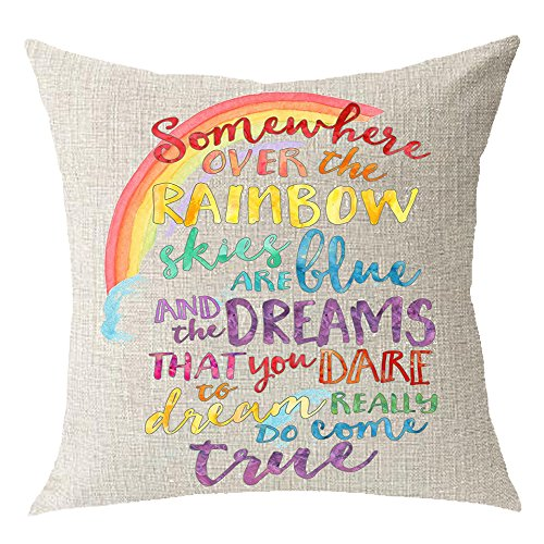 Encouraged saying Somewhere Over The Rainbow Sky Are Blue And Dream Come True Cotton Linen Square Throw Waist Pillow Case Decorative Cushion Cover Pillowcase Sofa 18
