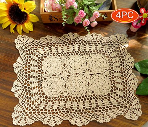 (Elesa Miracle 14x18 Inch 4pc Handmade Rectangle Crochet Cotton Lace Table Placemats Sofa Doilies Value Pack, Rectangle, Beige, (Beige))