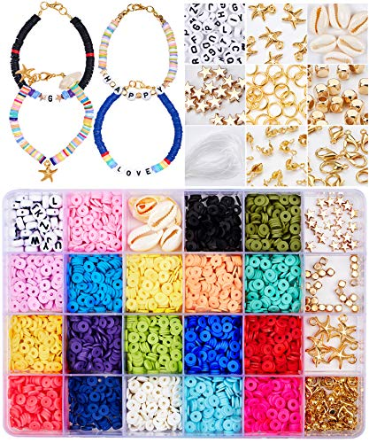 🥇 Tacobear Juguete de Cuentas Coloridas Abalorios Hacer Pulseras Collar de Bricolaje Cuentas de Arcilla de Joyas DIY Manualidad Fabricación de Joyas para Niños Adultas