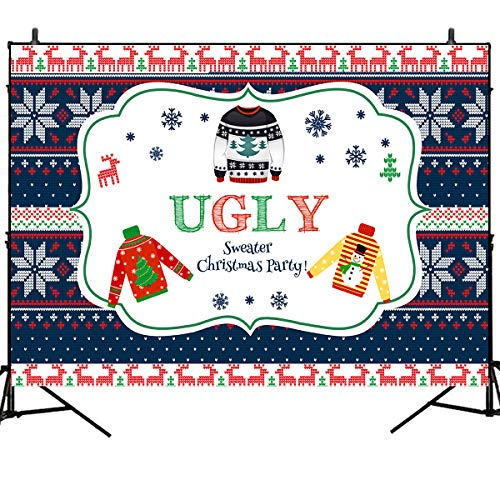 (Mehofoto Ugly Christmas Sweater Party Backdrops Red Elk Snowflake X-mas Party Banner Decoration 7x5ft Vinyl Tacky Sweater Background New Year Holiday Party Photo Booth Backdrops)