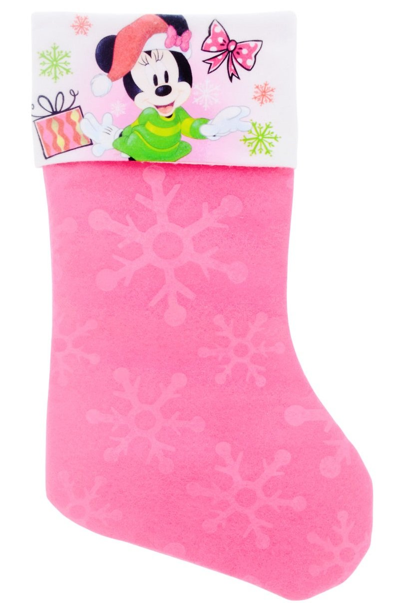 Disney Mickey & Minnie Mouse Festive Felt Christmas Stockings with Embossed Designs (Minnie)