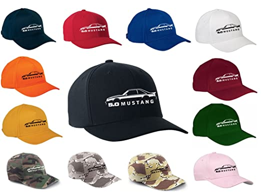 Ford Mustang Gt   Hatchback Classic Outline Design Flexfit Hat Cap Small
