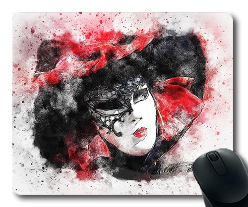 (Precision lock edge mouse pad) Mask Carnival Venice Art Abstract Watercolor071244 Gaming mouse pad mouse mat for mac or - Optical Venice