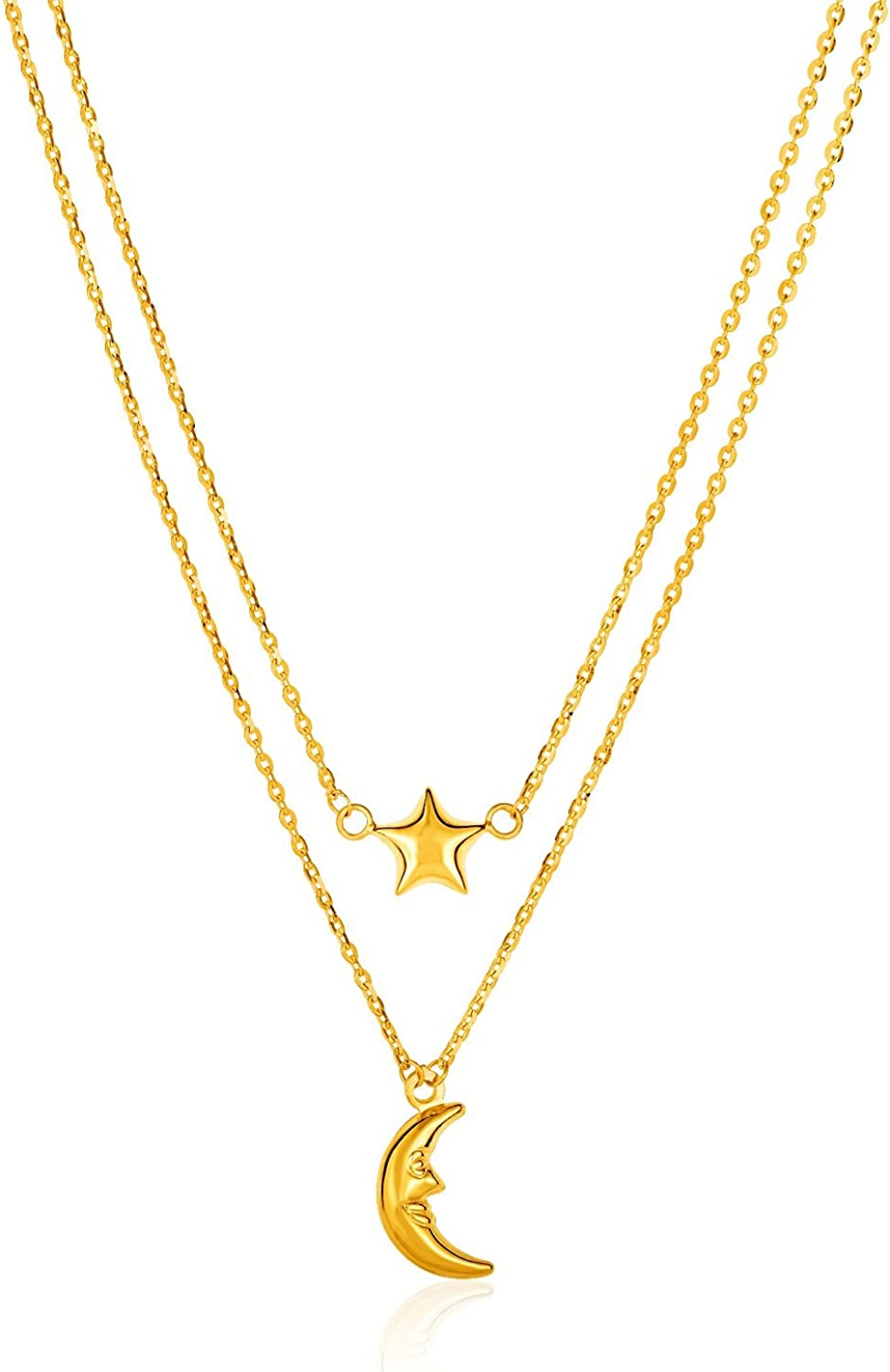 14K Yellow Gold Double-Strand Chain Necklace with Puff Moon and Star