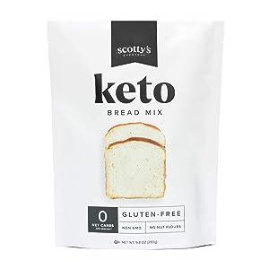 Keto Bread Zero Carb Mix - Keto and Gluten Free Bread Baking Mix - 0g Net Carbs Per Serving - Easy to Bake - No Nut Flours - Makes 1 Loaf (9.8oz Mix) - Sugar Free, Non-GMO, Kosher Bread