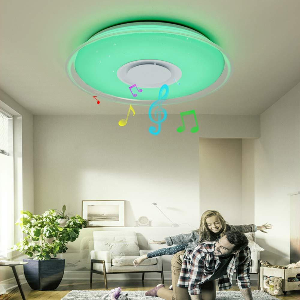FIREBIRD LED Plafonniers Avec Haut-parleur Bluetooth APP Smartphone et T/él/écommande,La Luminosit/é et Les Couleurs Ajustent,Mode RGB GE-36W Carr/é