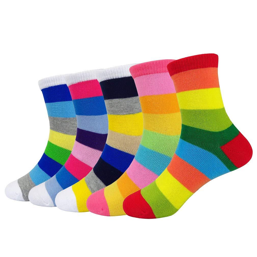JIEEN Baby Toddler Girls Boys Socks Rainbow Stripe Seamless Socks Colorful Cute School Fit Casual Funny