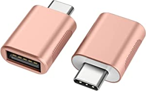 nonda USB C to USB Adapter(2 Pack),USB-C to USB 3.0 Adapter,USB Type-C to USB,Thunderbolt 3 to USB Female Adapter OTG for MacBook, iPad Pro 2020, Surface Go, Dell XPS, More Type-C Devices(Rose Gold)