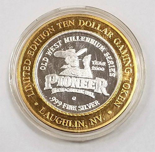 2000 Pioner Hotel & Casino Silver Casino Token $10 About Uncirculated
