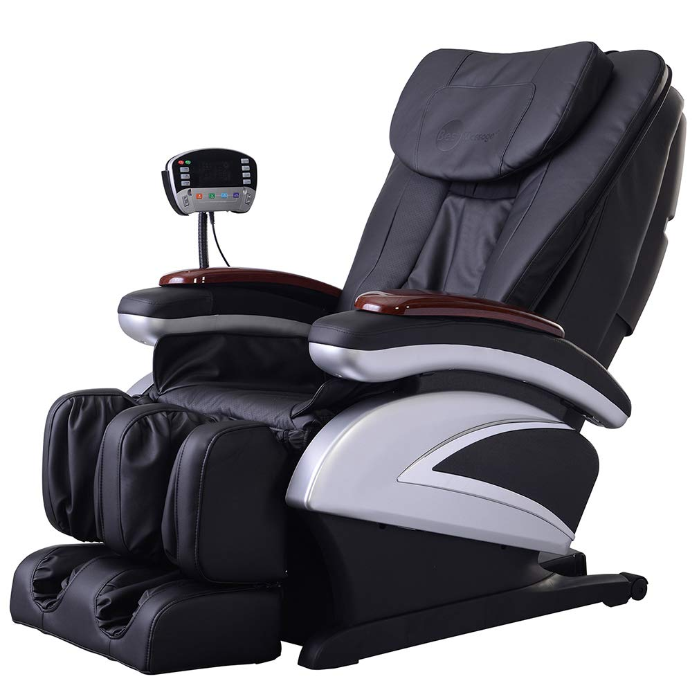 Full Body Electric Shiatsu Massage Chair Recliner with Built-in Heat Therapy Air Massage System Stretch Vibrating for Home Office Living Room, Black by BestMassage