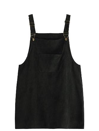 e084ada85f Romwe Women s Plus Size Pocket Front Adjustable Straps Corduroy Pinafore  Short Dress Black 1X Plus