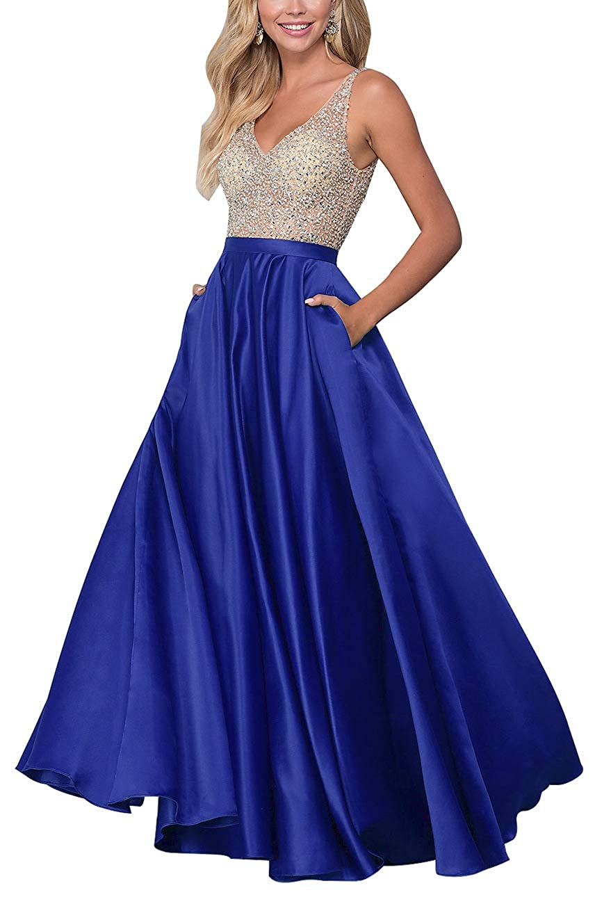 Royal bluee Staypretty Long Prom Gowns V Neck Beaded Satin Evening Dresses with Pocket Aline Formal Gown