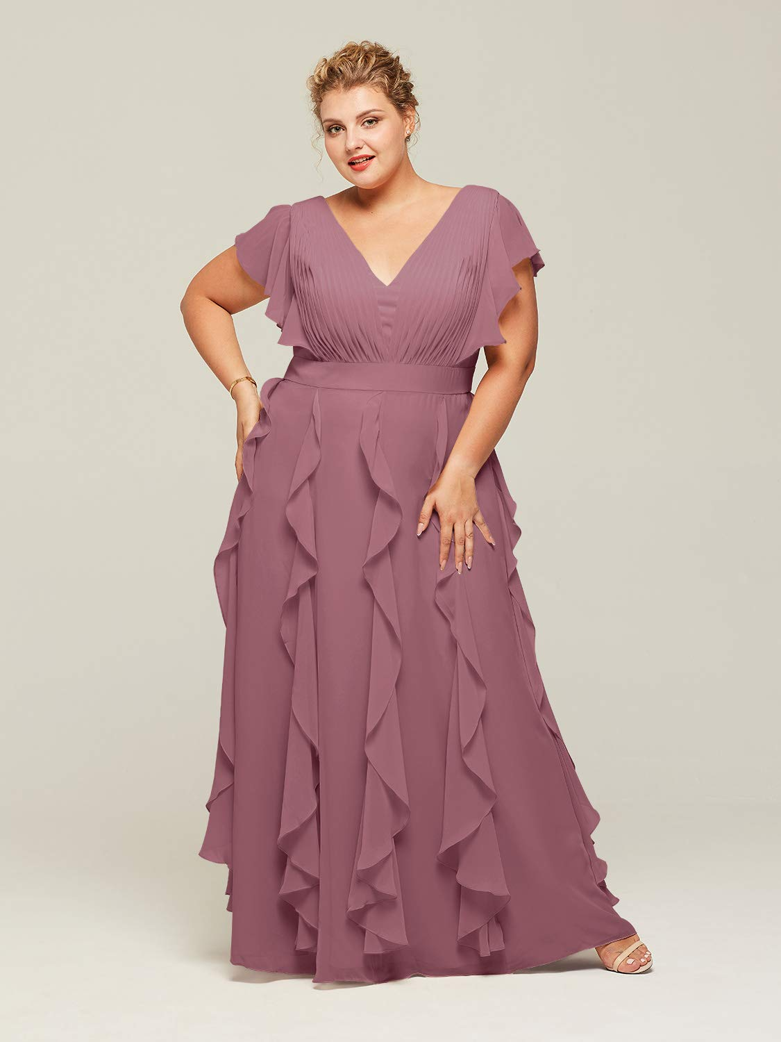 AW Bridal Plus Size Bridesmaid Dresses for Women Formal Dresses with  Sleeves Chiffon Long Gowns and Evening Dresses, Dusty Rose, US20