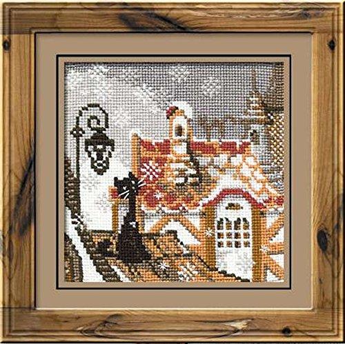 RIOLIS RI-610 Chat des Villes en Hiver Kit de Broderie au Point de Croix Multicolore 13 x 13 cm