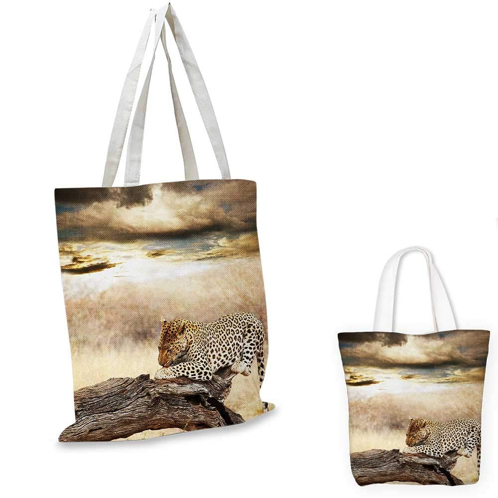 14x16-11 Safari canvas messenger bag Leopard Resting Dramatic Cloudy Sky Africa Safari Wild Cats Nature Picture canvas beach bag Beige and Brown