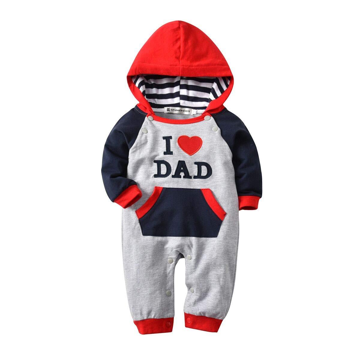 Newborn Kid Christmas Cute Baby Hoodie Boys Girls Jumpsuit I Love Dad/80