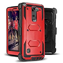 Jwest LG G Stylo 2 (2016) / LG G Stylo 2 Plus - Heavy Duty Full-Body Rugged Holster Armor Case & Belt Swivel Clip [ Kickstand ] WITHOUT Built-in Screen Protector - Red