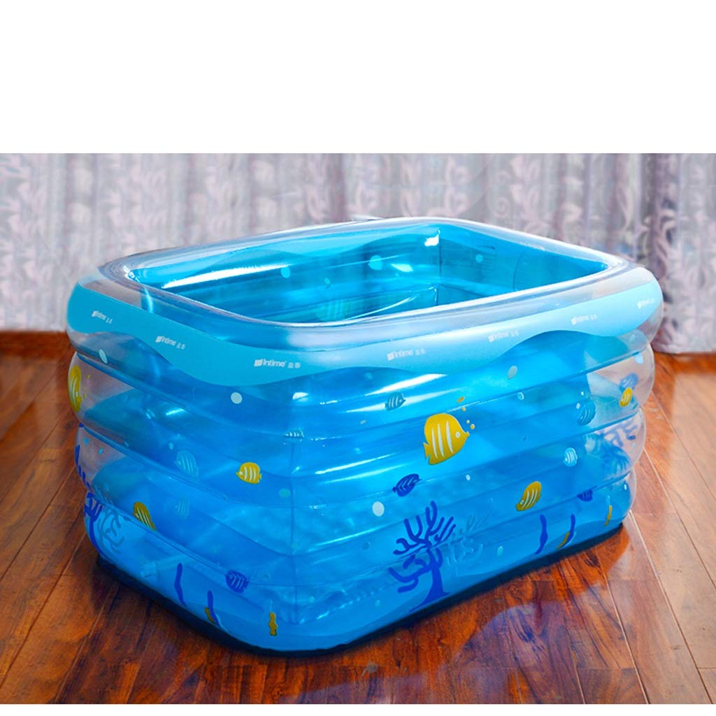 Ying Bathtub Transparent Blue Baby Inflatable Swimming Pool Infant Young Child Children Thickening Newborn Bath Tub Printed Small Fish Home Bathroom Supplies