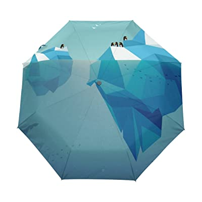 chic Cooper girl Iceberg Penguins Windproof Travel Umbrella Auto Open Close Foldable Compact Portable Lightweight UV Umbrellas for Women Men Kid