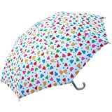 RainStoppers W104CHFHRT Girl's Fancy Heart Print Umbrella, 34-Inch