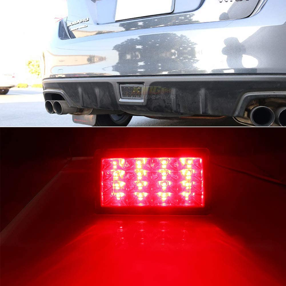 Miniclue F1 Style LED Rear Fog Light Kit with Wire Harness and Mounting Bracket Compatible with 2011-up Subaru WRX STi Compatible with Impreza or XV Crosstrek,Red Lens