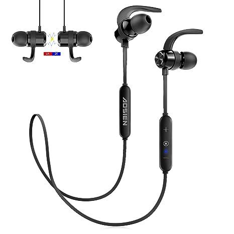 Auriculares Bluetooth, Aoslen Auriculares inalámbricos Bluetooth 4.2 Cascos deportivos Auriculares magnéticos con micrófono, Cancelación