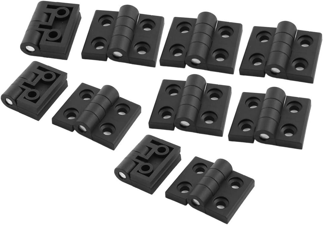 Sourcingmap a14051000ux0077 - Negro 56mm x 45mm reforzada a tope rodamiento puerta de plástico 10pcs bisagra