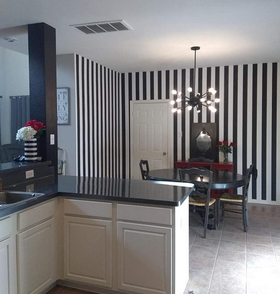Papel pintado de rayas blancas y negras WDragon rollo de 45 cm x 250 cm