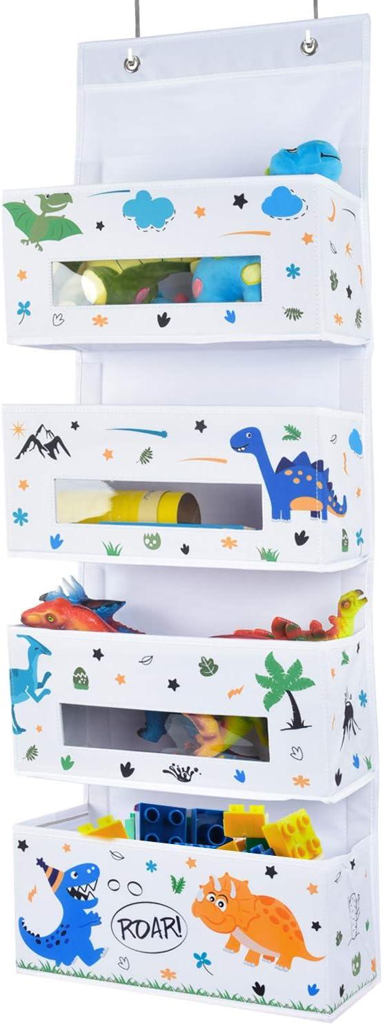 WERNNSAI Dinosaur Over The Door Hanging Organizer - 4 Clear Window Pockets Behind Door Hanger Storage Rack Bathroom Organizer for Baby Boys Toy Diaper Pantry Closet Bedroom Nursery Decor