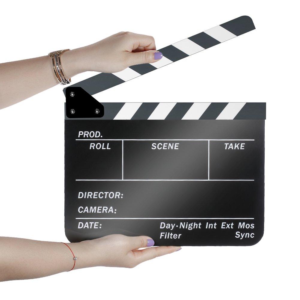 Neewer Acrylic Plastic 10x12in/25x30cm Dry Erase Director's Film Movie Clapboard Cut Action Scene Clapper Board Slate with White/Black Sticks