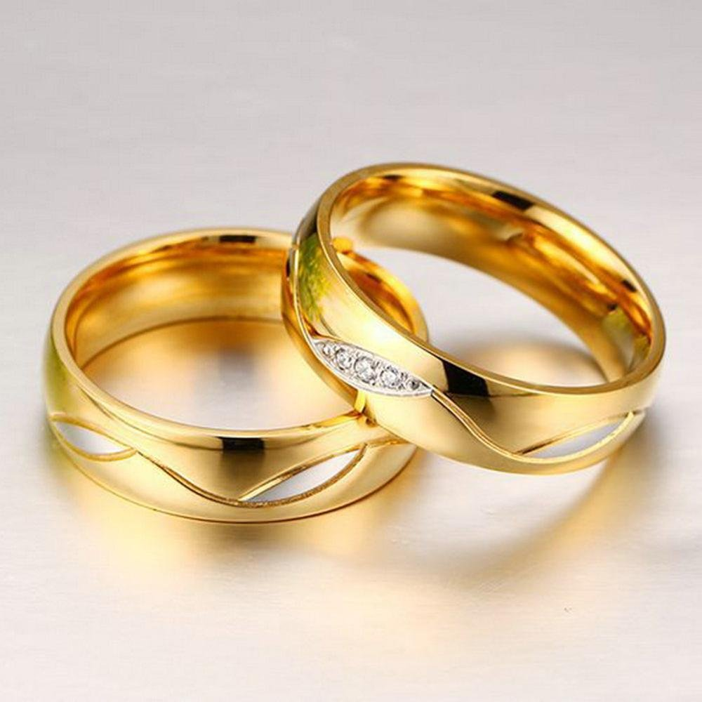 Stainless Steel Romantic Engagement Rings Fashion Gold Plated Rings for Women Man Cubic Zirconia CZ Diamond Wedding Ring