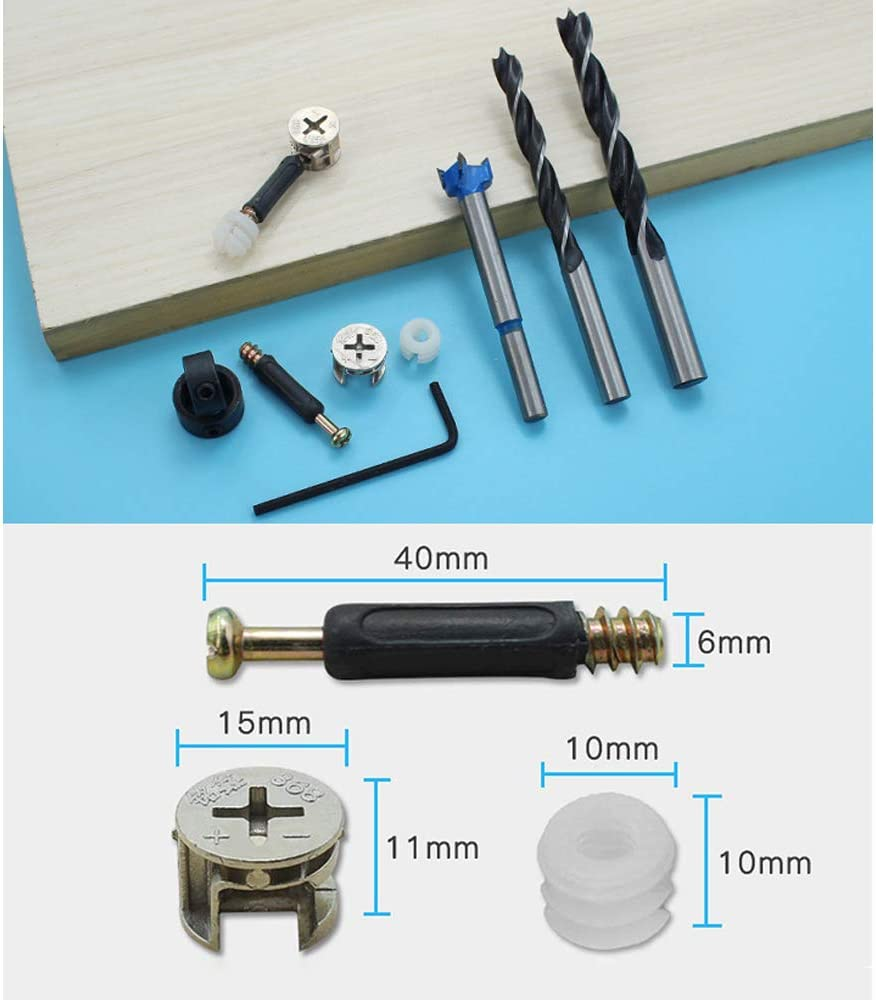 15mm(Diameter) 40mm(Length)OD Eccentric Wheel Cam Fitting Silver Tone and Hole Tools Set for Furniture Disassembly and Installation Etc. 50Pcs Furniture Connecting