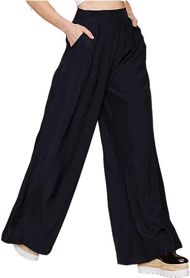 Amazon Com Spring Moon Pantalones Para Mujer Color Negro Pierna Ancha Casual Suelto Pantalones De Palazzo Con Cremallera Elegante Xl Clothing