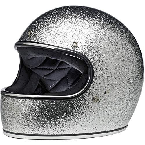 Biltwell Gringo ECE Rated Helmet Brite Silver Metal Flake Medium (More Size and Color Options)