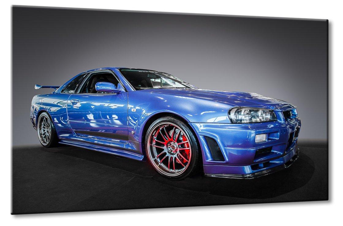 Fine-Art-Manufaktur Nissan Skyline R34 GT-R V-Spec GT A GTR Blau Supersportwagen Kunst   Aus der Serie Supersportwagen   Farbe  blau   Rubrik  Cars + Auto Bilder