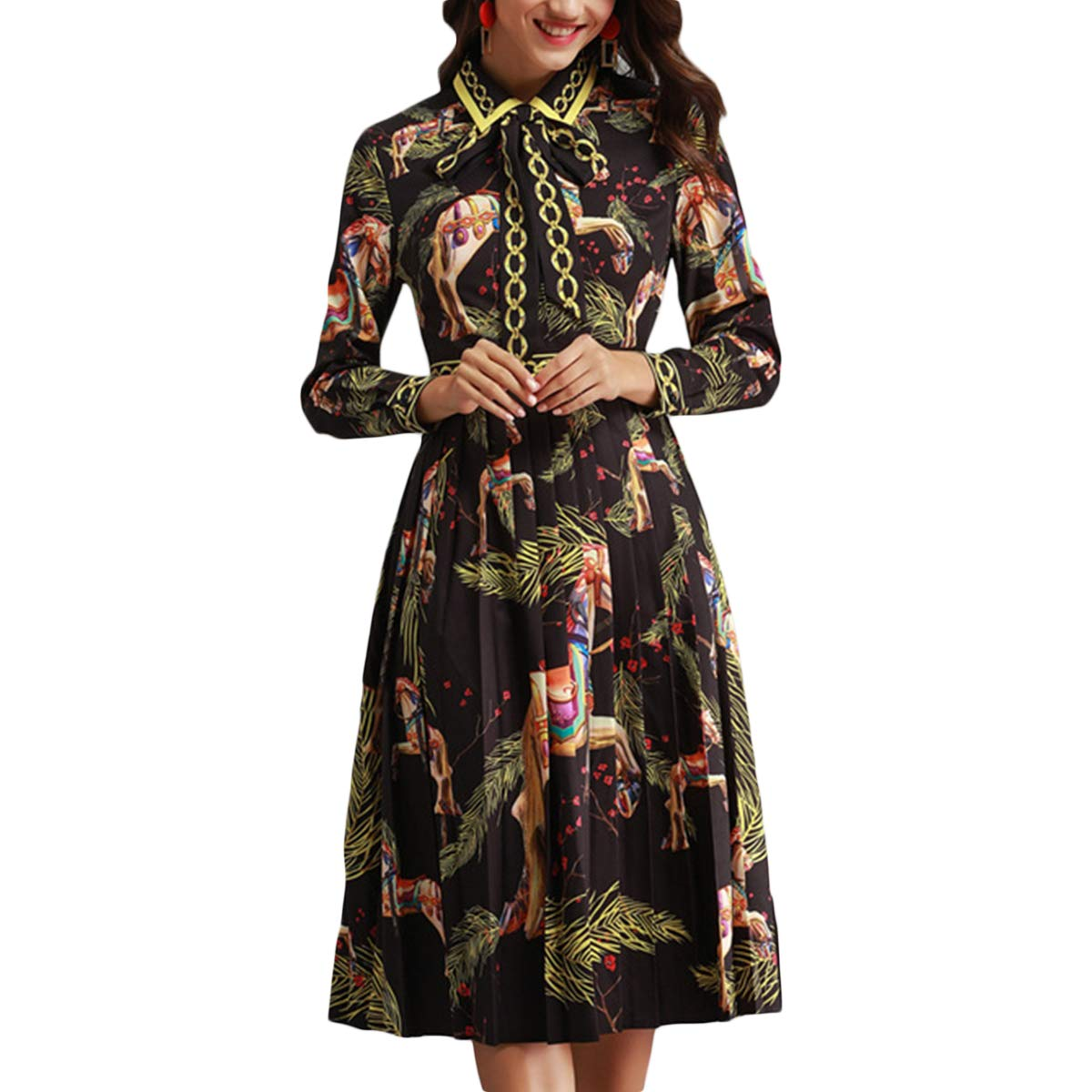 Black Floral Print Aline Bow Tie Lapel Long Sleeve Women High Waist Pleated Dress
