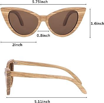eb526d18c2 Amazon.com  WISH CLUB Cat Eye Bamboo Polarized Sunglasses Wood for ...