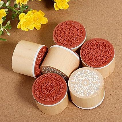 Set of 6 Vintage Floral Flower Round Wooden Rubber Stamp Scrapbooking Wedding
